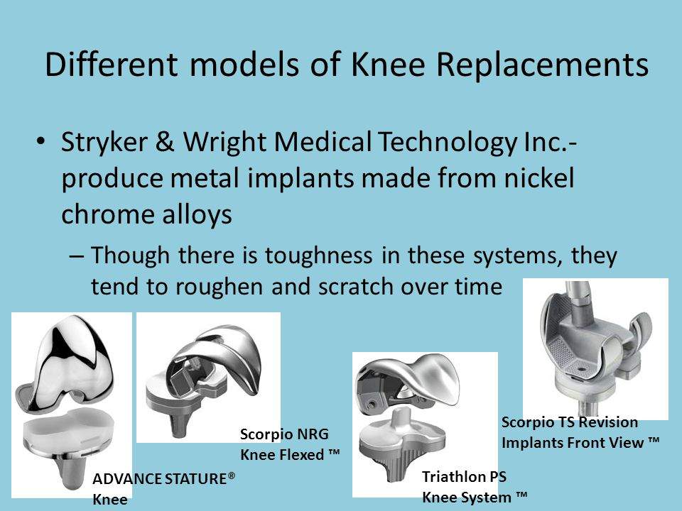 Different models of Knee Replacements