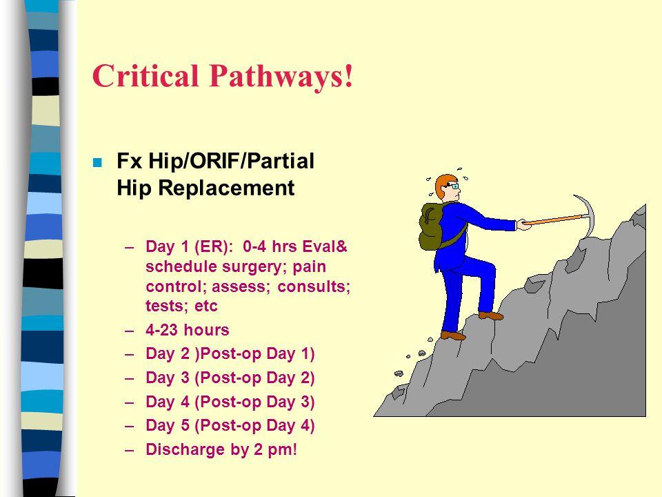 Critical Pathways! Fx Hip/ORIF/Partial Hip Replacement
