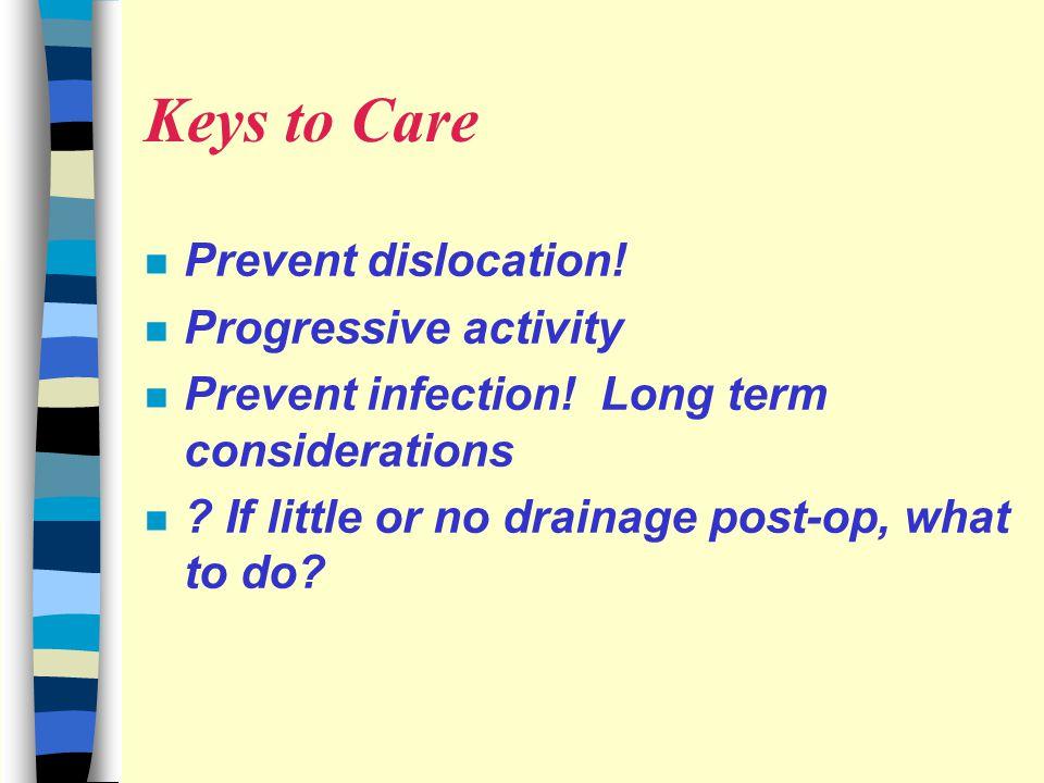 Keys to Care Prevent dislocation! Progressive activity