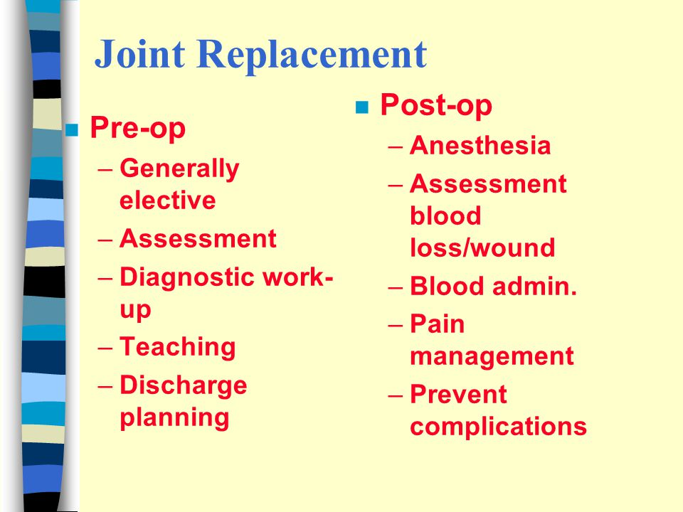 Joint Replacement Post-op Pre-op Anesthesia