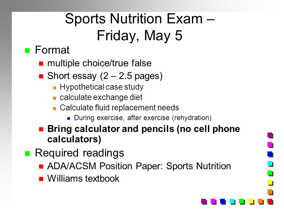 Sports Nutrition Exam – Friday, May 5