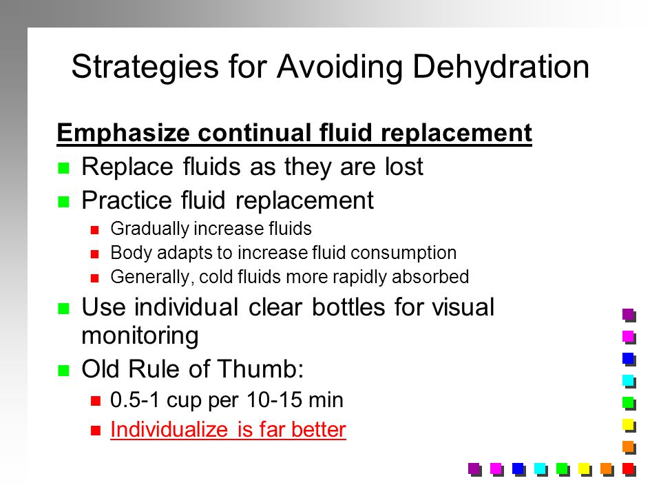 Strategies for Avoiding Dehydration