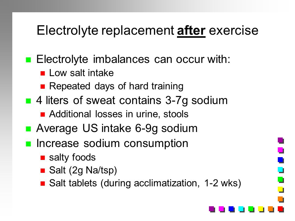 Electrolyte replacement after exercise