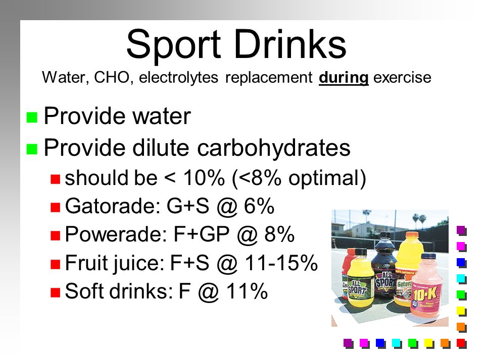Sport Drinks Water, CHO, electrolytes replacement during exercise