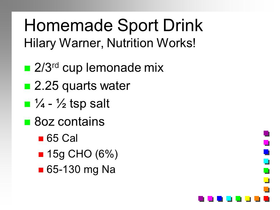 Homemade Sport Drink Hilary Warner, Nutrition Works!