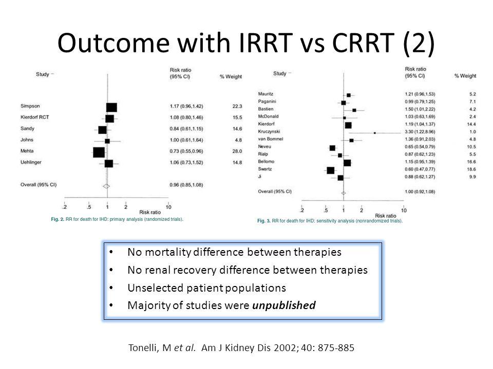 Outcome with IRRT vs CRRT (2)