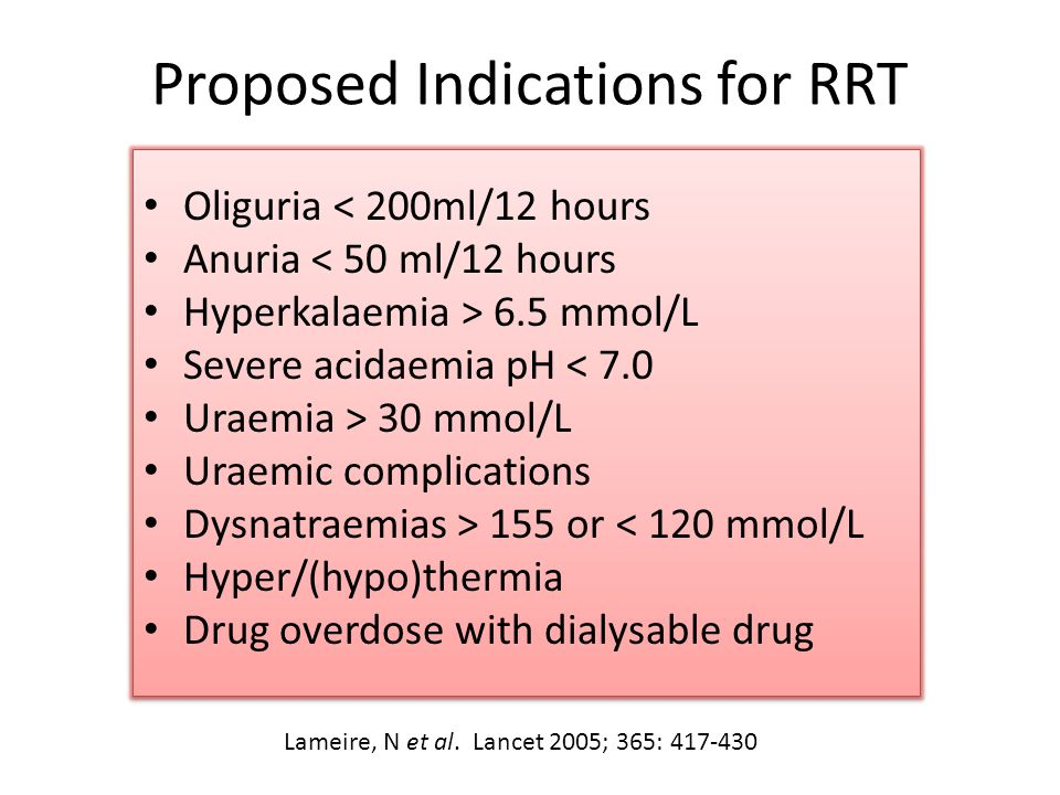 Proposed Indications for RRT