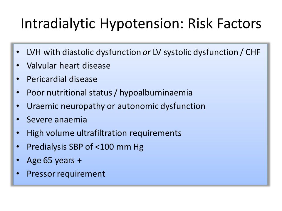 Intradialytic Hypotension: Risk Factors