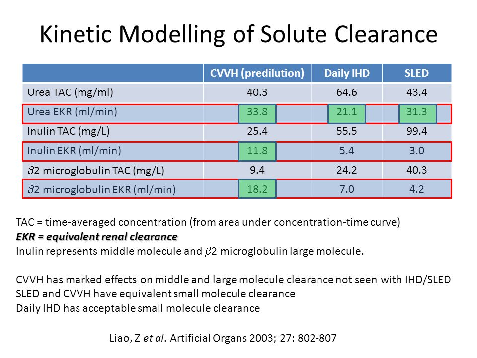 Kinetic Modelling of Solute Clearance