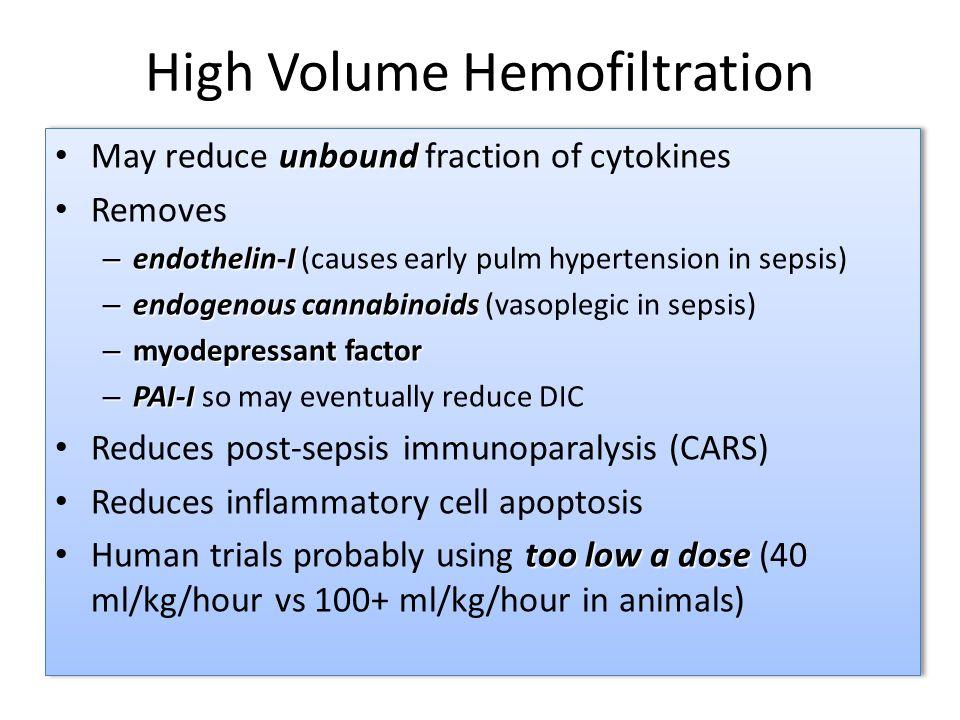 High Volume Hemofiltration