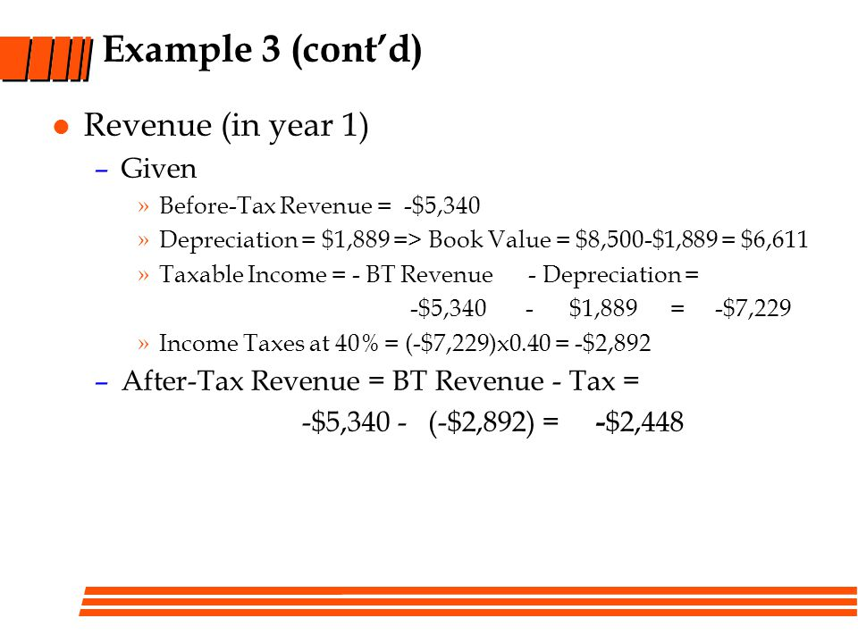 Example 3 (cont'd) Revenue (in year 1) Given