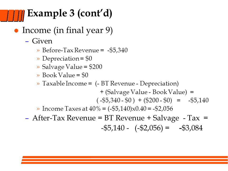 Example 3 (cont'd) Income (in final year 9) Given