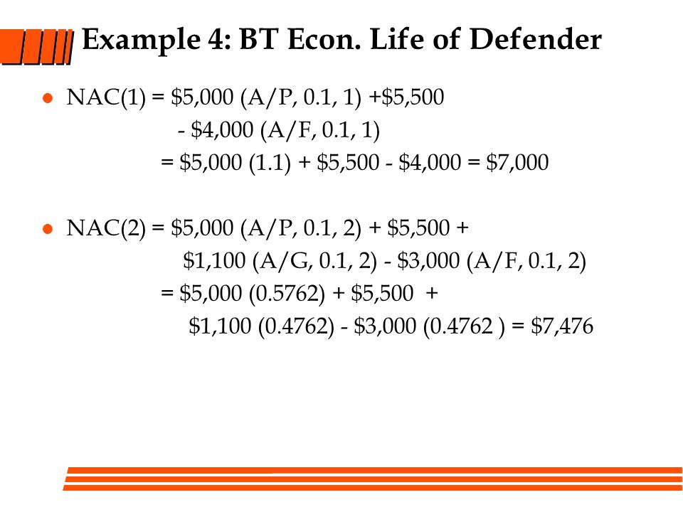 Example 4: BT Econ. Life of Defender
