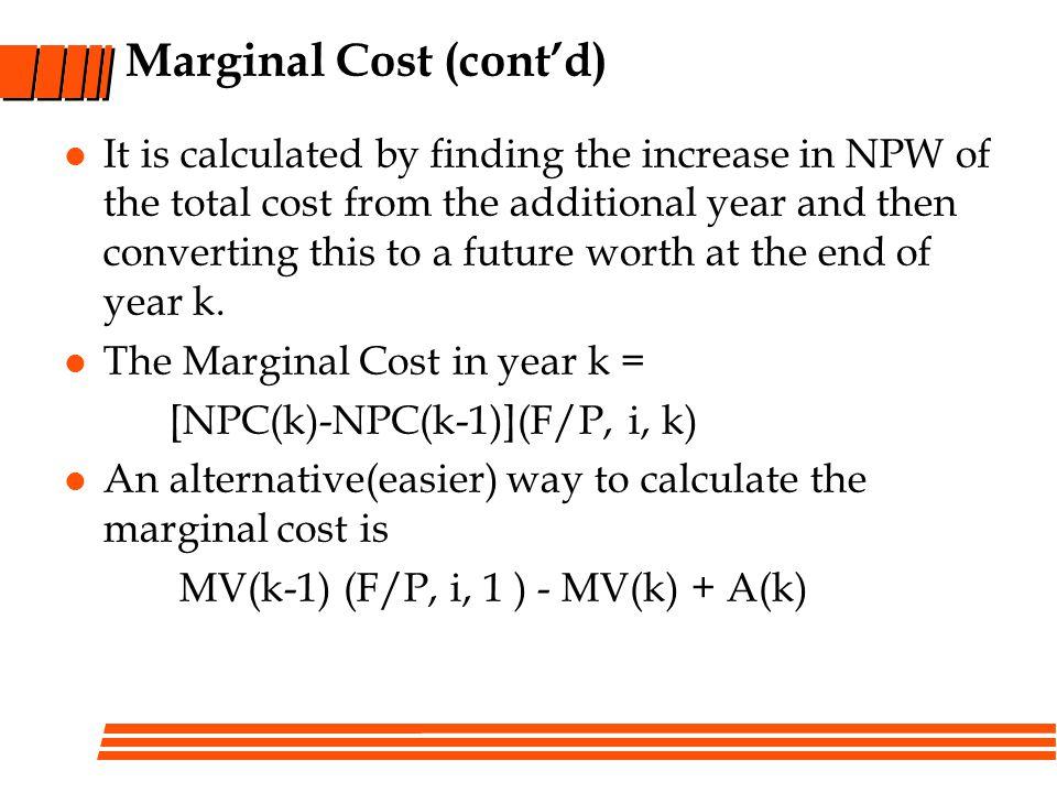 Marginal Cost (cont'd)
