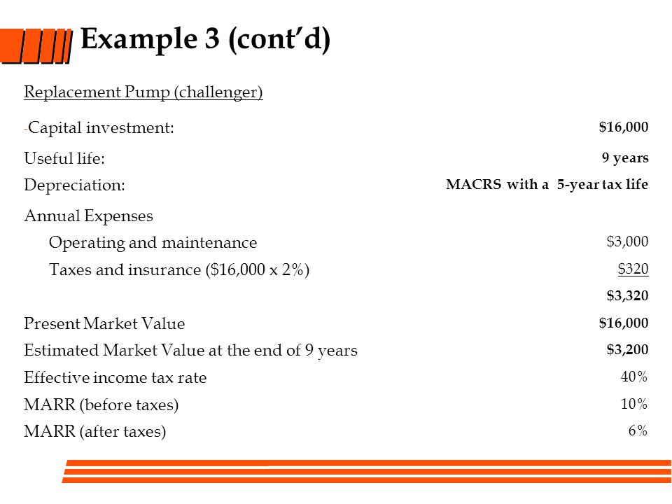 Example 3 (cont'd) Replacement Pump (challenger) Capital investment: