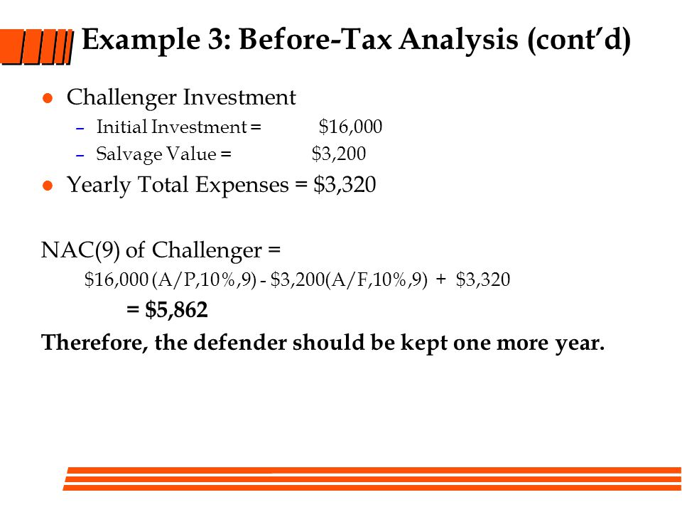 Example 3: Before-Tax Analysis (cont'd)