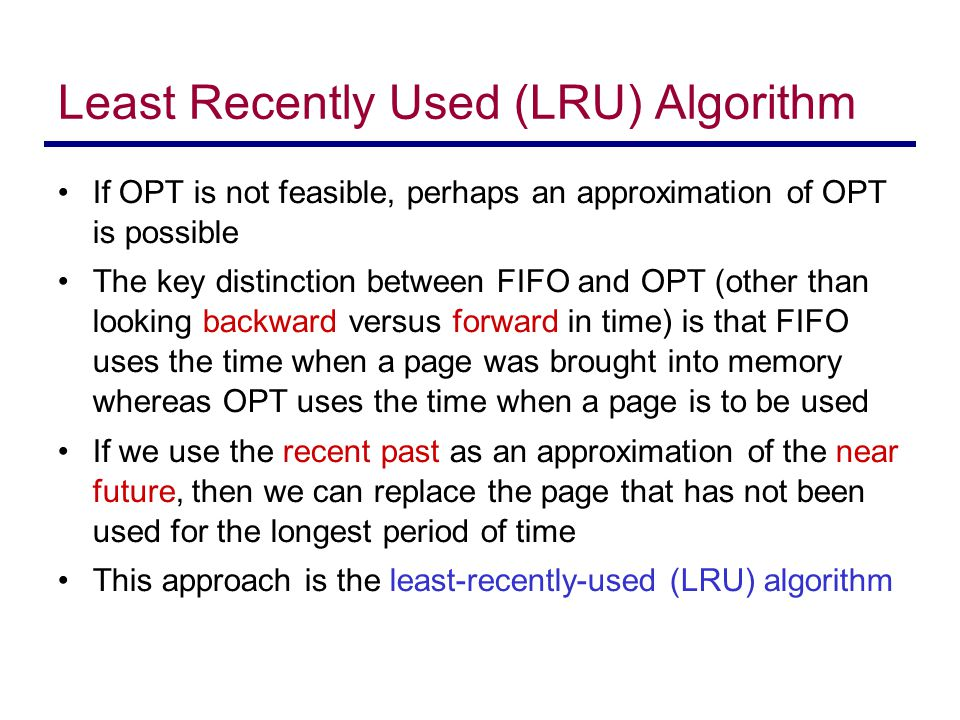 Least Recently Used (LRU) Algorithm