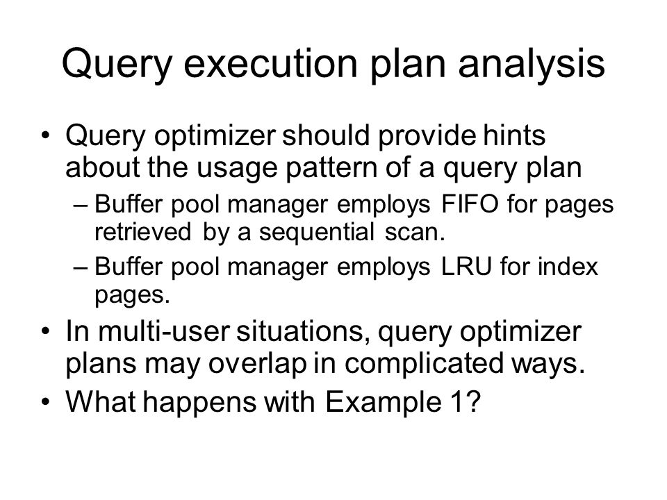 Query execution plan analysis