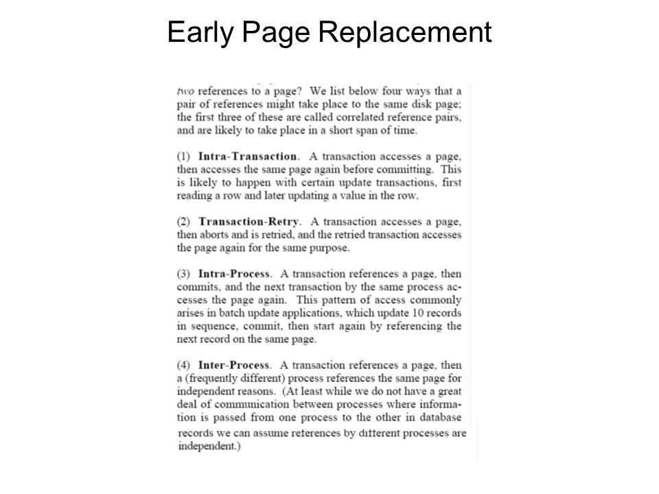 Early Page Replacement