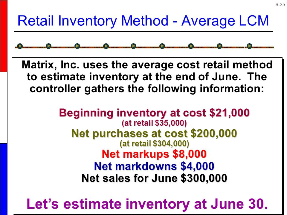 Retail Inventory Method - Average LCM