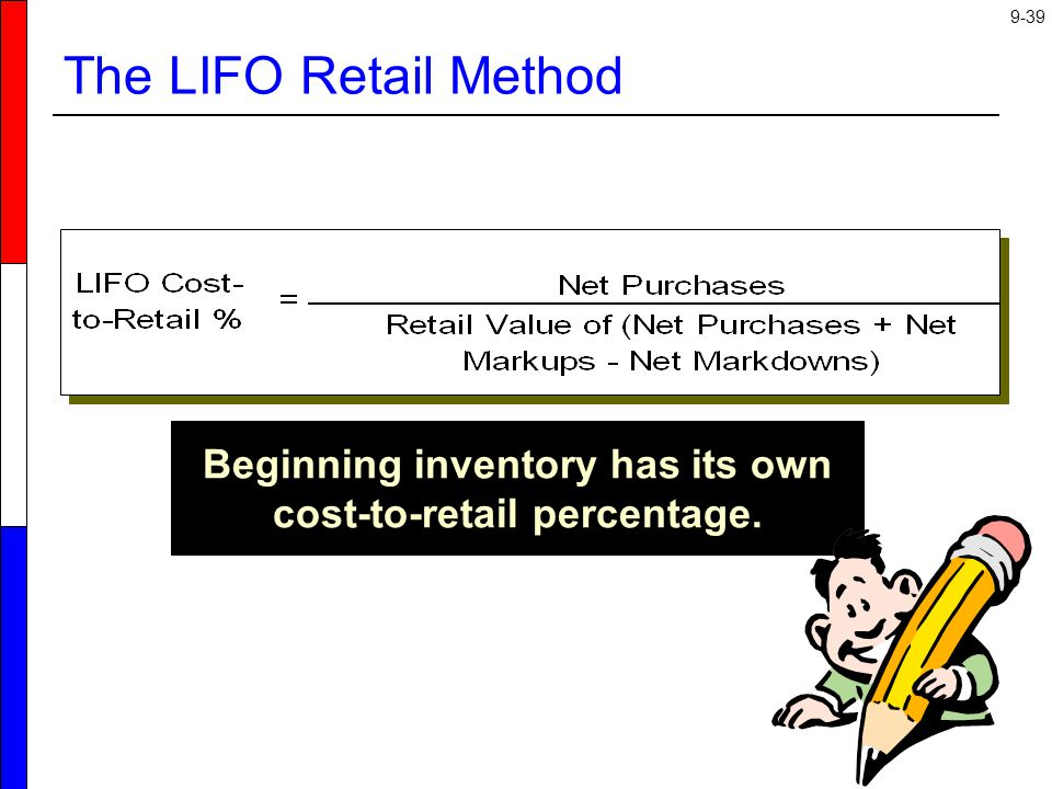 Beginning inventory has its own cost-to-retail percentage.