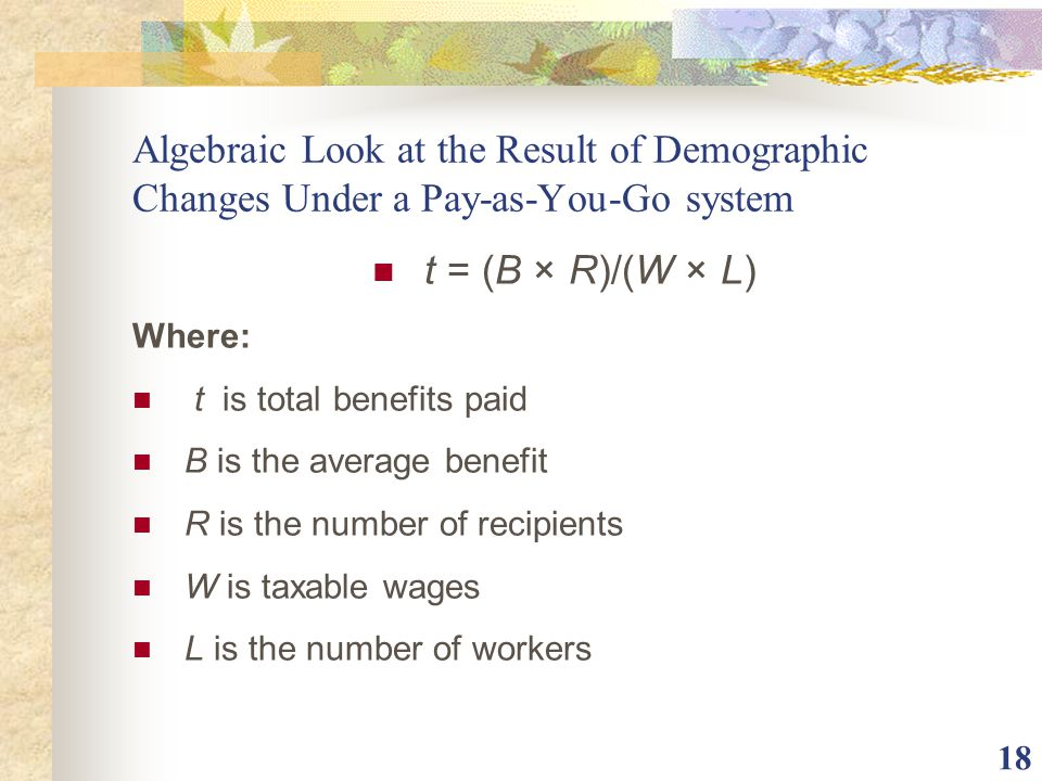 Algebraic Look at the Result of Demographic Changes Under a Pay-as-You-Go system