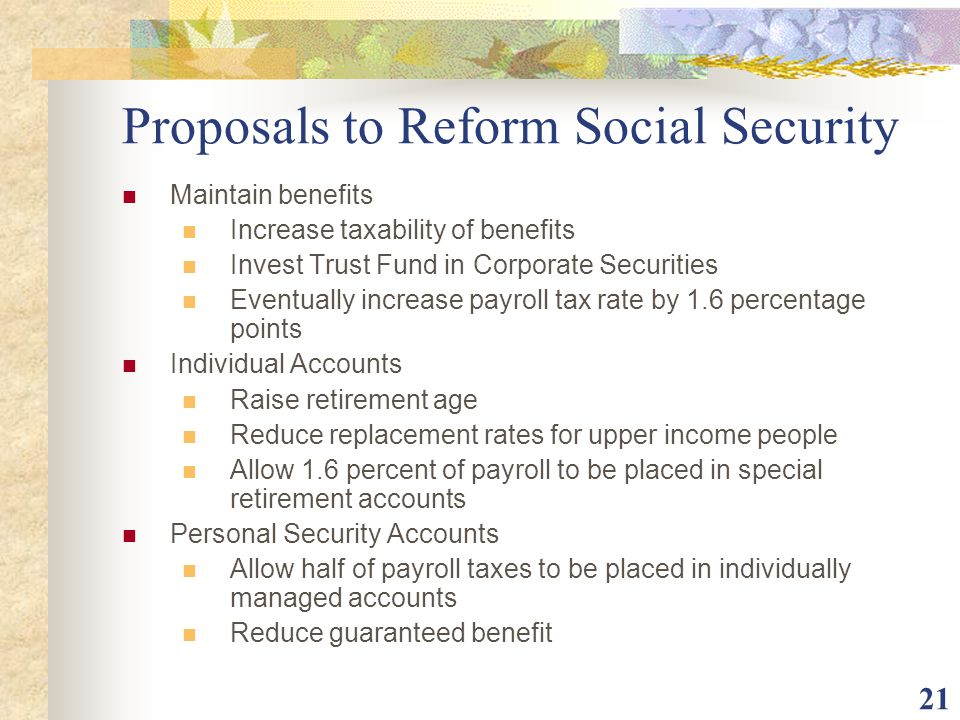 Proposals to Reform Social Security