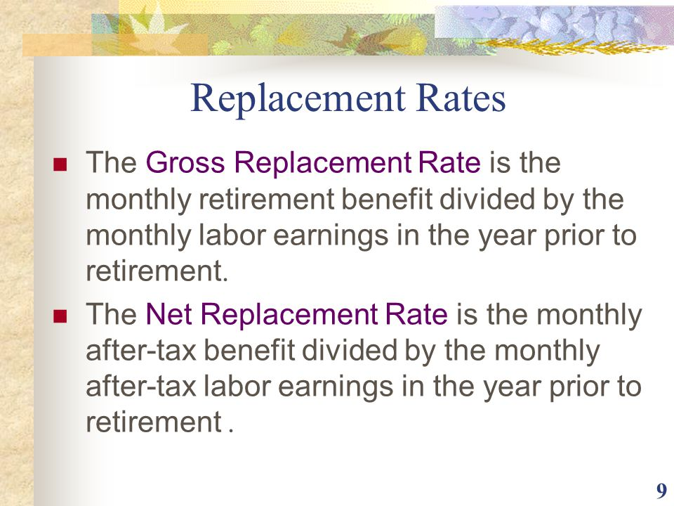 Replacement Rates The Gross Replacement Rate is the monthly retirement benefit divided by the monthly labor earnings in the year prior to retirement.
