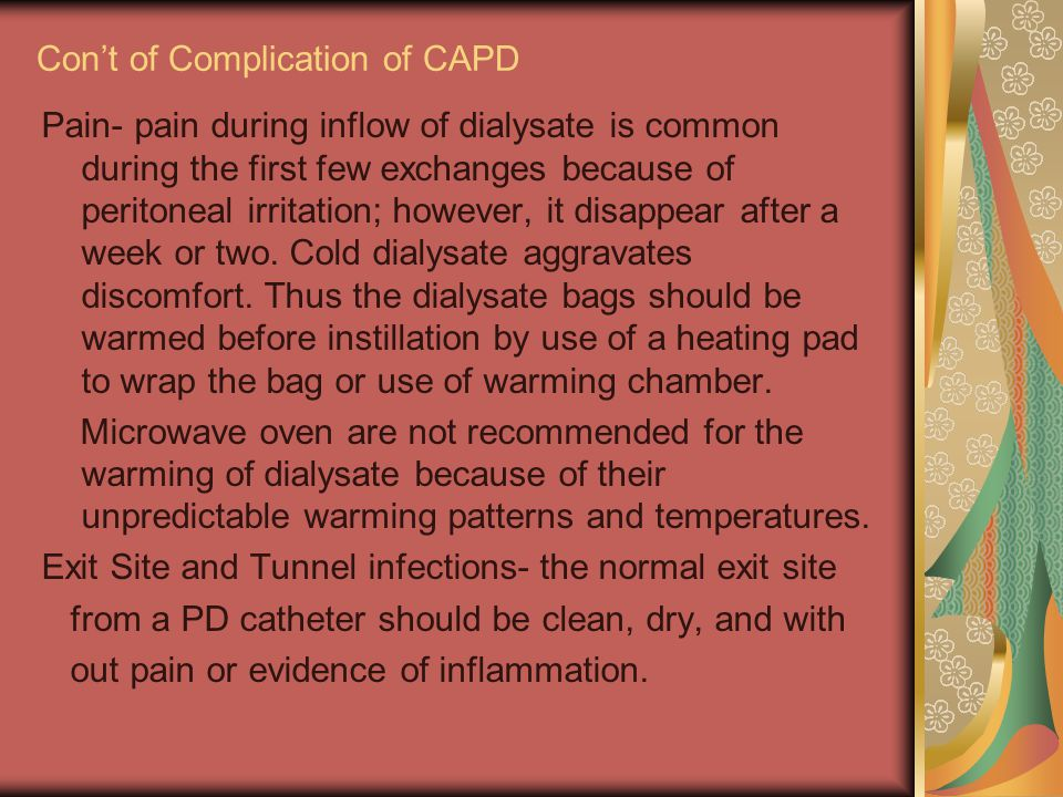 Con't of Complication of CAPD
