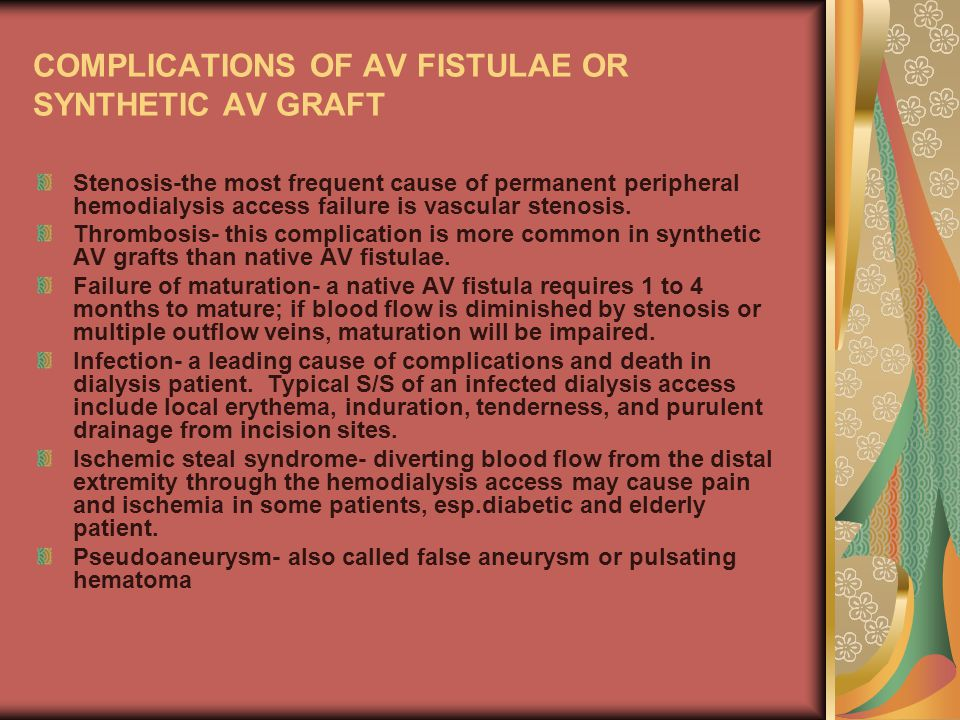 COMPLICATIONS OF AV FISTULAE OR SYNTHETIC AV GRAFT
