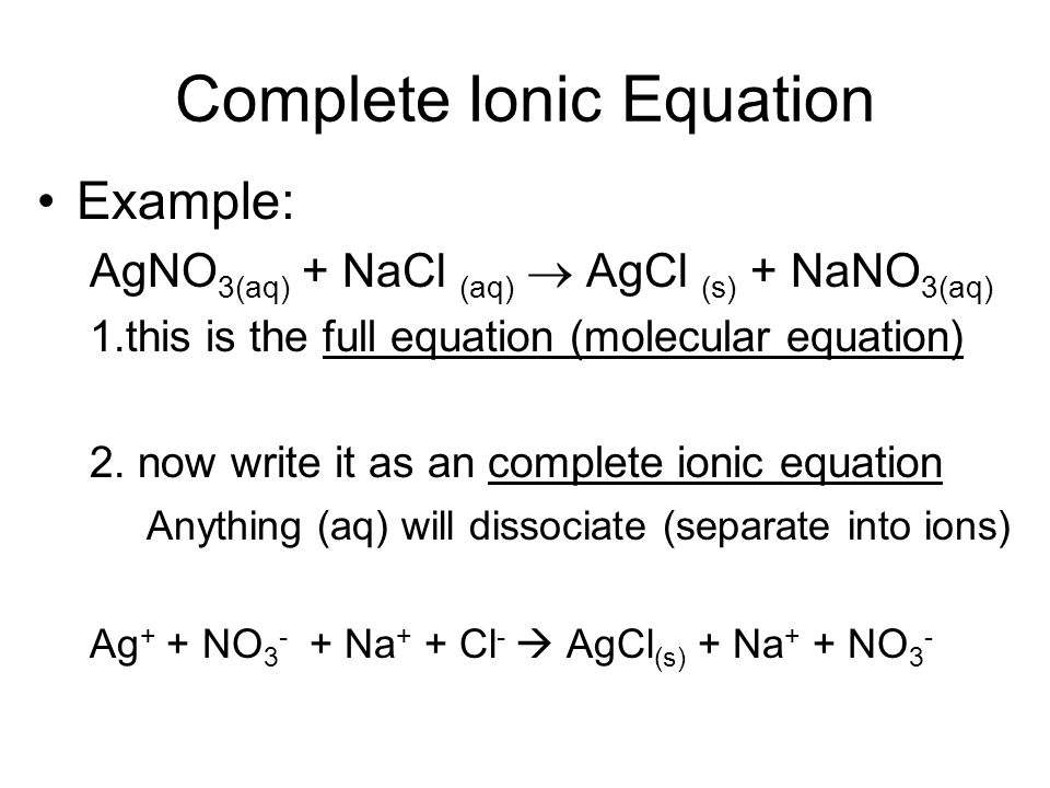 how do you write ionic equations Balancing reaction equations oxidation state • write the ionic equation by replacing each dissolved substance (aq) with the species in solution.