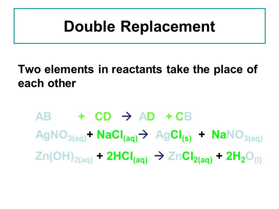 Double Replacement Two elements in reactants take the place of each other. AB + CD  AD + CB.