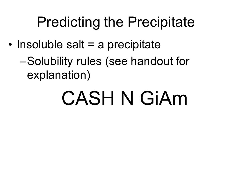 Predicting the Precipitate