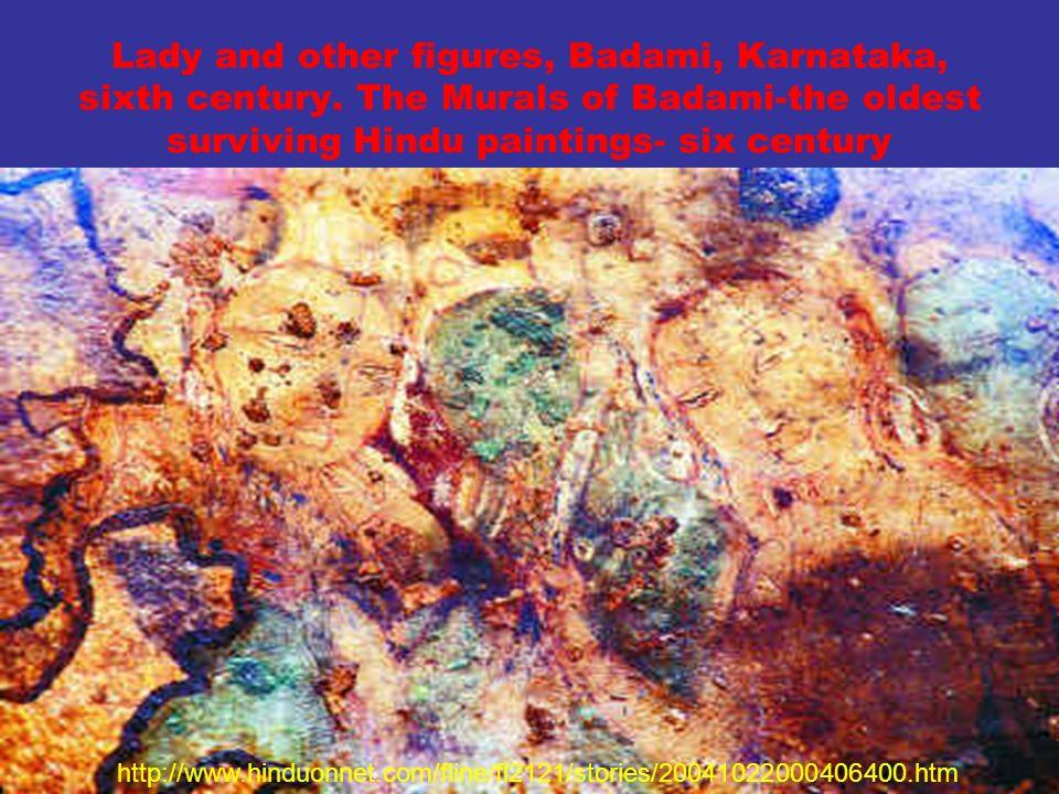 Lady and other figures, Badami, Karnataka, sixth century