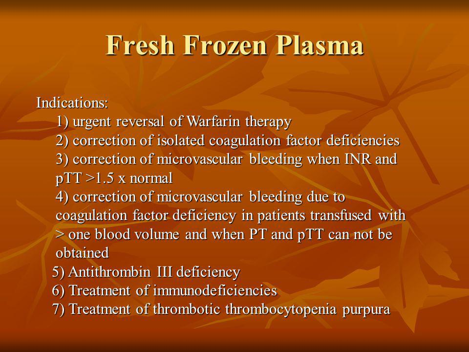 Fresh Frozen Plasma Indications: