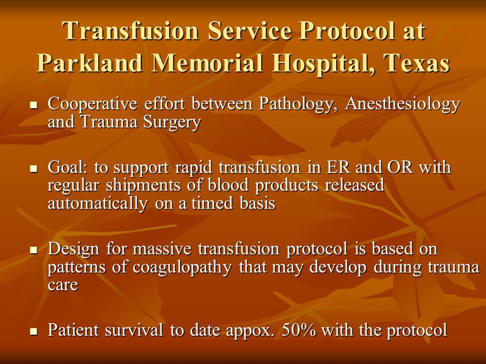 Transfusion Service Protocol at Parkland Memorial Hospital, Texas