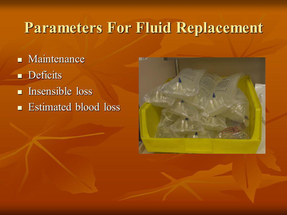 Parameters For Fluid Replacement