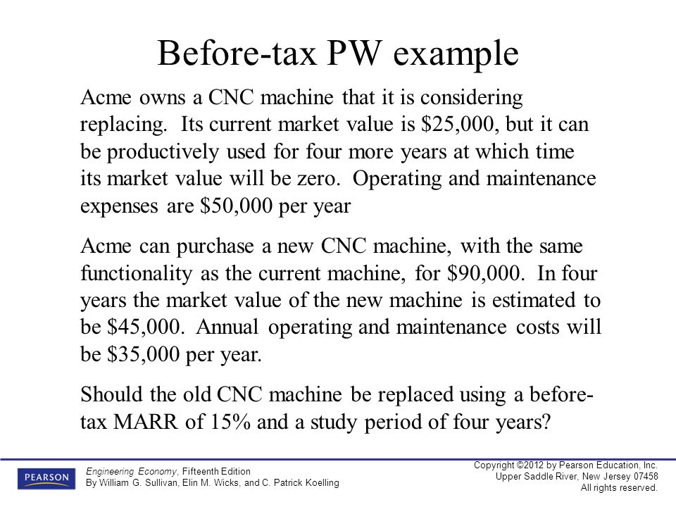 Before-tax PW example