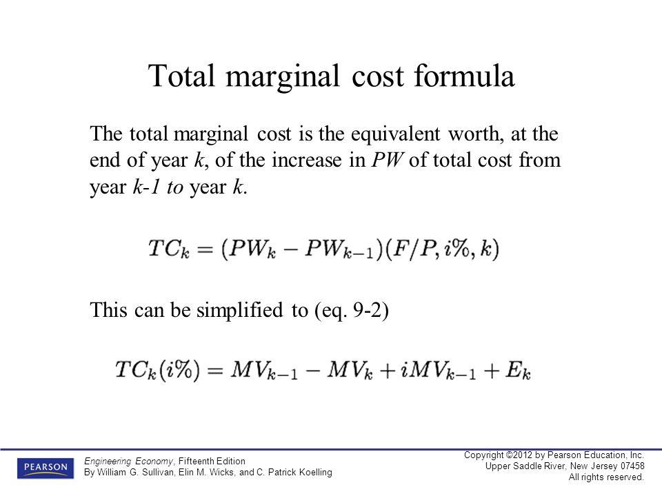 Total marginal cost formula