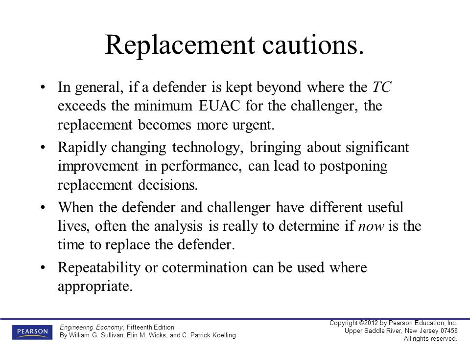 Replacement cautions.