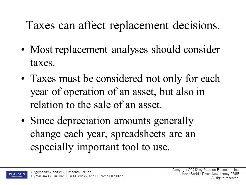 Taxes can affect replacement decisions.