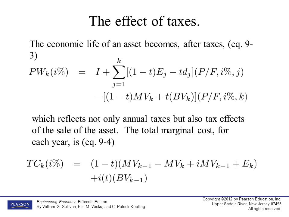 The effect of taxes. The economic life of an asset becomes, after taxes, (eq. 9-3)