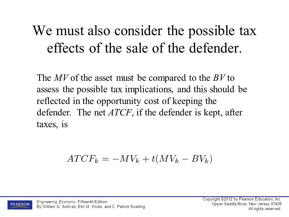 We must also consider the possible tax effects of the sale of the defender.
