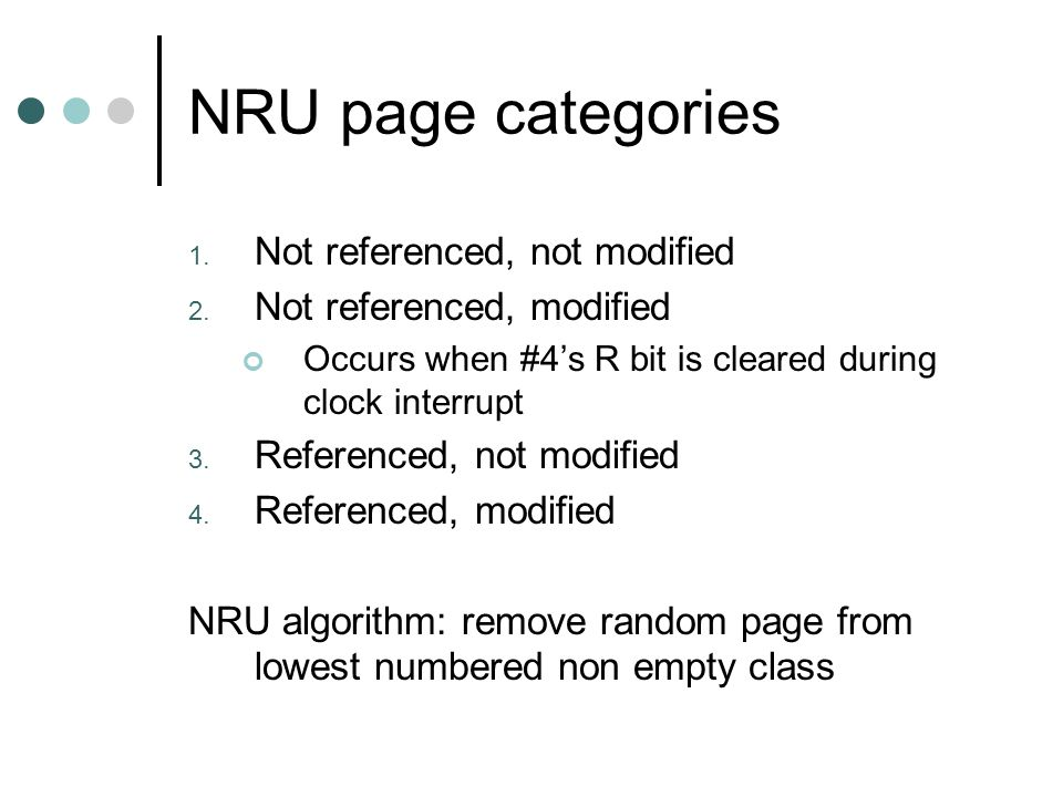 NRU page categories Not referenced, not modified