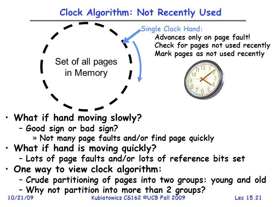 Clock Algorithm: Not Recently Used
