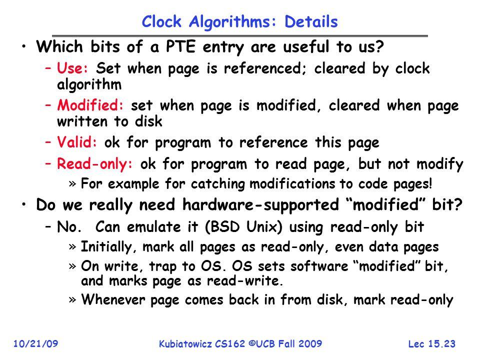 Clock Algorithms: Details