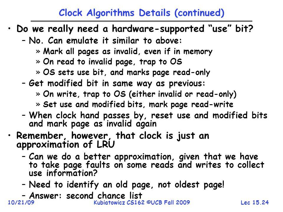 Clock Algorithms Details (continued)