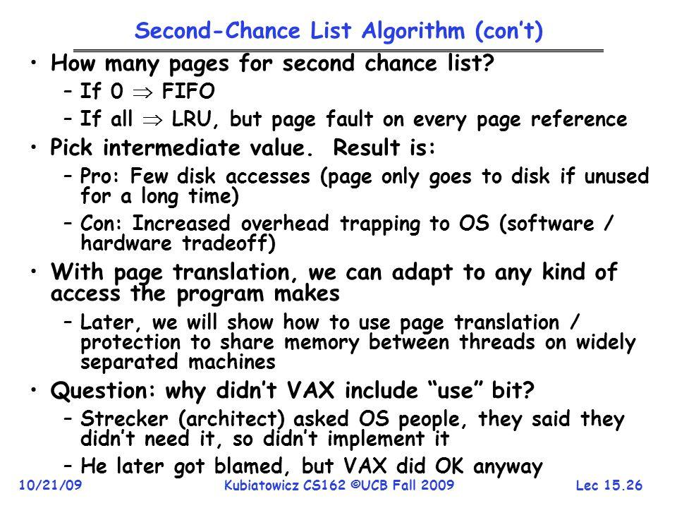 Second-Chance List Algorithm (con't)