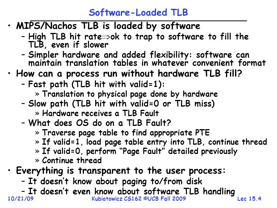 MIPS/Nachos TLB is loaded by software