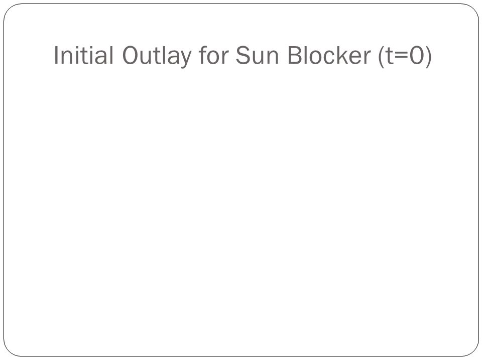 Initial Outlay for Sun Blocker (t=0)